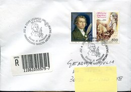 43584  Italia,special Postmark Legnago 2000 Circuled Registered, First Day Of Stamp Antonio Salieri 250th Anniv.of Birth - Muziek