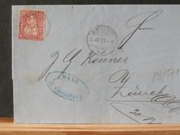 83/671  LETTRE SUISSE  1873 - 1862-1881 Helvetia Assise (dentelés)