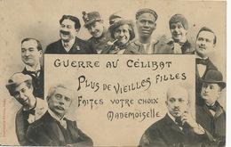 Guerre Au Celibat Ensemble Homme Meme Un Noir En 1905  Edt. Bergeret Vers Longué Les Feux Jument Tombée En Panne - Humour