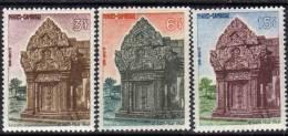 Cambodge N° 132 / 34 X   Retour Au Cambodge Du Preah Vihear Les 3 Valeurs  Trace De  Charnière Sinon TB - Cambodge