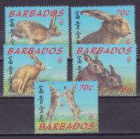 BARBADOS, N°1009/1013, 1999, Cote 10€, Lièvre ( W1903/006) - Barbados (1966-...)