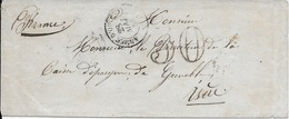 LSC ARMEE D'ORIENT - GUERRE DE CRIMEE POUR GRENOBLE PAR MARSEILLE 1856 + TAXE 30 - Marcophilie (Lettres)