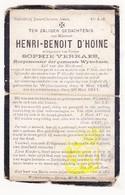 DP Burgemeester Henri B. D'Hoine ° Wijtschate Heuvelland 1844 † 1911 X Sophie Verraes - Images Religieuses