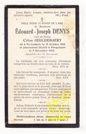 DP Edouard J. Denys ° Wijtschate Heuvelland 1838 † Ploegsteert Comines-Warneton X Céline Heughebaert - Images Religieuses