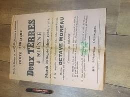 RIENNE 1943 Vente Deux Terres Au Café Madame Brichet - Affiches
