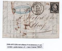 1850 - TYPE 14 + GRILLE CERES N° 3  NOIR SUR BLANC Sur LETTRE De GRANVILLE (MANCHE) Avec TAXE 2 MANUSCRITE - 1849-1876: Période Classique