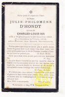 DP Julie Philomène D'Hondt ° Wijtschate Heuvelland 1845 † 1910 X Charles L. Six - Images Religieuses