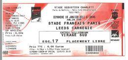 Ticket Rugby Amlin Cup Stade Charlety Paris 16 01 2011 Stade Français / Leeds Carnegie - Eintrittskarten