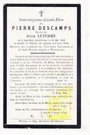 DP Pierre Descamps ° Houthem Comines-Warneton † Oorlogshospitaal Leisele Alveringem 1918 Confrérie St Rosaire Wijtschate - Images Religieuses