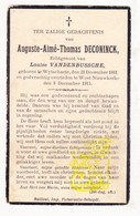 DP Auguste A. Deconinck ° Wijtschate Heuvelland 1861 † Westnieuwkerke 1915 X Louise VandenBussche - Imágenes Religiosas