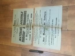 BOURSEIGNE - VIEILLE 1938 Vente Matériel Agricole Immeubles - N 2 Morceaux :-( - Affiches