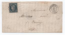 1850 - LETTRE Avec GRILLE Sur CERES N° 4 + TYPE 15 De BEDARIEUX (HERAULT) - Marcophilie (Lettres)