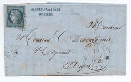 1852 - LETTRE Avec TYPE 12 De VOUZIERS (ARDENNES) & PC 3683 Sur CERES N° 4 - Postmark Collection (Covers)