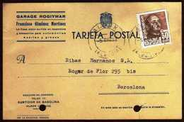 Girostamps54.- TARJETA COMERCIAL DEL GARAGE ROGIYMAR CIRCULADA DESDE ALBOX (ALMERIA) A BARCELONA - 1951-60 Cartas