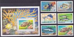 DOMINICA,  N° 414/419+ Bloc 30, 1975, Cote 20€, Poissons( W1903/029) - Dominique (1978-...)