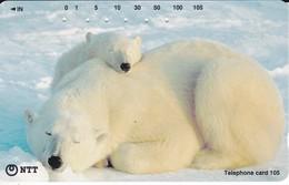 TARJETA DE JAPON DE UN OSO POLAR CON SU CRIA (POLAR BEAR) - Japón