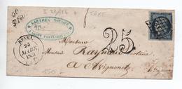 1851 - CURSIVE ST SAINT FELIX LAURAGAIS Avec GRILLE Sur CERES N° 4 + TYPE 14 De REVEL (HAUTE GARONNE) + TAXE TAMPON 25 - Poststempel (Briefe)