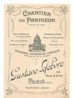Vieux Papiers -  Dépliants - Carte -  Chantier Du Panthéon -  Materiaux - Gustave Lefebvre - RARE -   Vieux Papiers° - Cartes