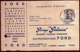 Girostamps54.- TARJETA COMERCIAL DE LA FORD DE VIGO (PONTEVEDRA) A BARCELONA - 1951-60 Cartas
