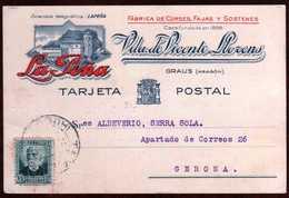 Girostamps54.- TARJETA COMERCIAL DE LA PEÑA, CIRCULADA DESDE GRAUS (ARAGÓN) A GERONA - 1931-Hoy: 2ª República - ... Juan Carlos I