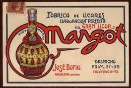 Girostamps54.- TARJETA DE FABRICA DE LICORES MARGOT DE BADALONA CIRCULADA A AMER (GERONA) - 1931-Hoy: 2ª República - ... Juan Carlos I