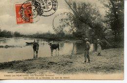 856. CPA 33 LES PEINTURES PRES COUTRAS. LES BORDS DE LA DRONNE AU GUE DE SENAC 1911 - France