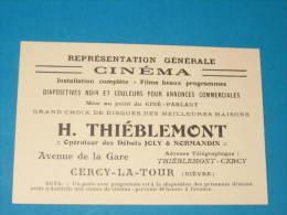Carte Représentant - CINEMA - H. THIEBLEMONT - CERCY LA TOUR - Cartes De Visite