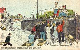 CPA, Humoristique Péniche, Donne Moi Que T'as ! T'auras Quoi Que J'ai !, Très Animée, G. Vanackère - Houseboats