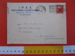 CA.15 ITALIA CARD - 1946 FIRENZE ISTITUTO PREVIDENZA ASSISTENZA SORDOMUTI IPAS BORGO SS APOSTOLI SALUTE HANDICAP - Salute