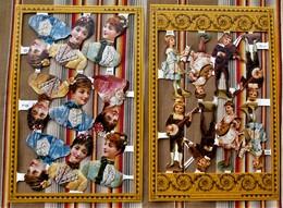 Planche De 17 Chromos Decoupis Gauffrees  M.L.P. Made In England Femmes Enfants Musique - After 1965