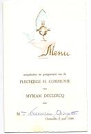 Menu - Communie Myriam Declercq - Oostende 1968 - Menus