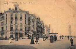 Belgium Ostende La Digue Et Le Phare Hotel Du Nord Promenade Tram Postcard - Belgique