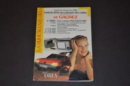 Mini Calendrier 1985 Bijoux ORIA + Jeux Concours Une 205 A Gagner - Calendriers