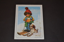Mini Calendrier 1985 Dessin Michel Thomas Au Ski - Calendriers