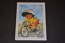 Mini Calendrier 1986 Dessin Michel Thomas A Vélo - Calendriers