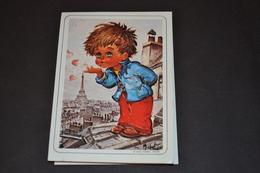Mini Calendrier 1989 Dessin Michel Thomas Sur Les Toits Envoyant De L'amour - Calendriers