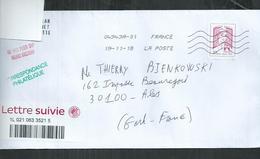 """Marianne De La Jeunesse Adhésif No 1217A """" Lettre Suivie"""" Sur Enveloppe - 2013-... Marianne De Ciappa-Kawena"""