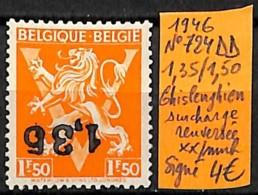 [831824]Belgique 1946 - N° 724DD, 1.35/1.50, Ghislenghien Surcharge Renversée, Signé, Lions - Belgique