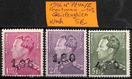 [831825]Belgique 1946 - N° 724x/z, Poortman -10%, Ghislenghien, Familles Royales, Rois - 1936-51 Poortman