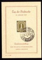 A5953) Kontrollrat Sonderblatt Dresden Tag Der Briefmarke 12.01.47 Mit 1 RM - Gemeinschaftsausgaben