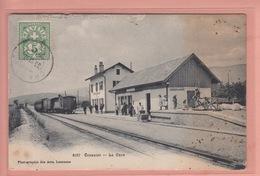 OUDE POSTKAART ZWITSERLAND - SCHWEIZ -   SUISSE -   CRASSIER - STATION - LA GARE STOOMTREIN - TRAIN - WITH FAULTS - VD Vaud