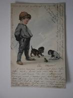 Enfant, Chiens, Grenouille. Cpa 1903 (A5p66) - Enfants