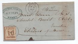 1870 - LETTRE De NANCY (MEURTHE ET MOSELLE) Avec TIMBRE D'OCCUPATION ALSACE LORRAINE N° 5 - Marcofilia (sobres)