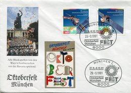 EUROPA CEPT Allemagne RFA 1991 1358/59 FDC Europa Espace Satellite Télécommunications Copernic - Europa-CEPT