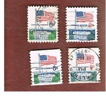 STATI UNITI (U.S.A.) - SG 1318.1320  - 1968  FLAGS (2 COMPLET SETS OF 2 STAMPS WITH DIFFERENT PERFORATIONS       - USED° - Stati Uniti