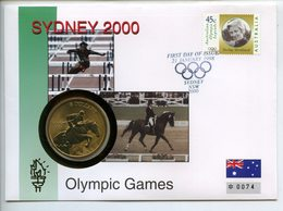AUSTRALIA 5 $ 2000 BRONZE SIDNEY OLYMPIC GAMES EQUESTRIAN AUSTRALIAN LEGENDS STRICKLAND FIRST DAY OF ISSUE N°74 FDC UNC. - Verzamelingen