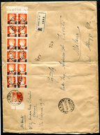 G35-5 ITALIA REGNO UMBERTO II 1946 6 GIUGNO Raccomandata Grande Formato Affrancata Con Blocco Di 12 Del L. 2,50 Sovrasta - 5. 1944-46 Luogotenenza & Umberto II