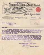 Australie Facture Lettre Illustrée 12/6/1912 Samuel Allen & Sons Merchants Carriers Shipping TOWNSVILLE North Queensland - Australie