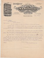 USA Facture Lettre Illustrée 26/8/1908 The M H WILTZIUS Co Church Ornaments Vestments Chalices MILWAUKEE Wis. - Etats-Unis