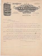 USA Facture Lettre Illustrée 26/8/1908 The M H WILTZIUS Co Church Ornaments Vestments Chalices MILWAUKEE Wis. - United States